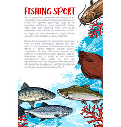 Fishing sport sketch poster with sea fish vector