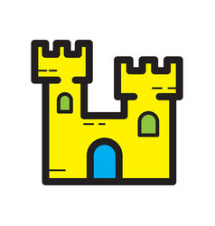 Flat color sand castle icon vector