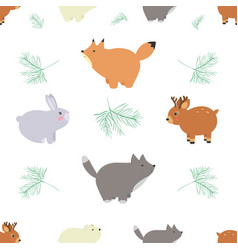 Forest seamless pattern with cute animals - fox vector
