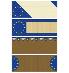 Four wooden banners with elements of eu banner vector