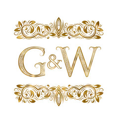 g and w vintage initials logo symbol vector image
