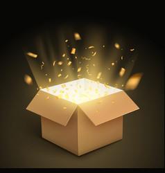 Gift box confetti explosion magic open surprise vector