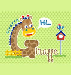 giraffe cartoon with little friend on polka dot vector image