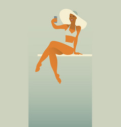 girl taking a selfie in the pool retro style vector image