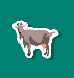 Goat paper sticker on stylish background vector