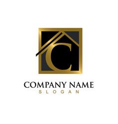 Gold letter c house logo vector