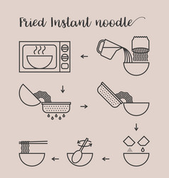 Graphic info step by step of cooking fried noodle vector