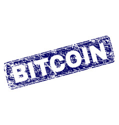 Grunge bitcoin framed rounded rectangle stamp vector