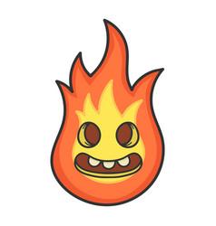Happy creepy fireball cartoon vector
