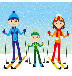 Happy family skiing vector