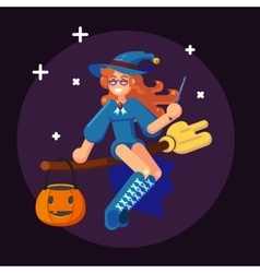 Happy Halloween Banner Invitation Card Witch on vector