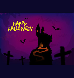 happy halloween poster design with traditional vector image