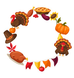 Happy thanksgiving day frame with objects vector