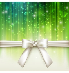 Holiday green background with white bow vector