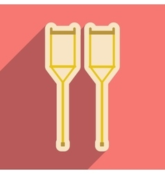 Icon of medical crutches in flat style vector