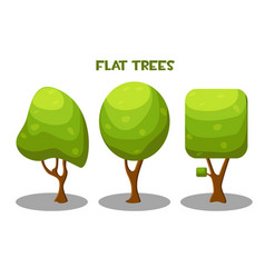 isolated green trees in flat style vector image