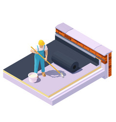 Isometric worker at flat roinsulation vector
