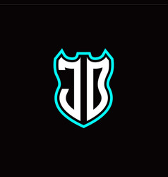 j o initial logo design with shield shape vector image