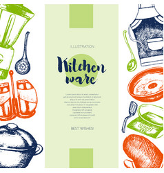 Kitchen ware - color drawn vintage banner template vector