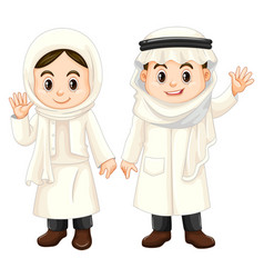 Kuwait kids in white costume vector
