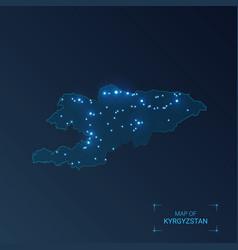 Kyrgyzstan map with cities luminous dots - neon vector