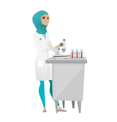 Laboratory assistant working with microscope vector