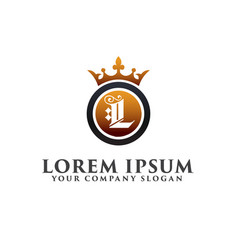 Luxury letter l with crown logo design concept vector