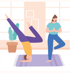 man and woman practicing yoga different pose vector image