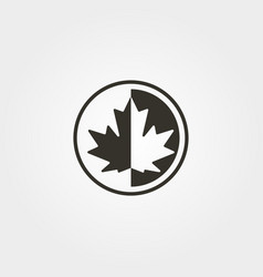 maple leaf icon logo canadian silhouette design vector image