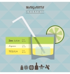 Margarita cocktail flat style with vector image