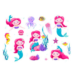 Mermaid cute stickers cartoon little princess vector