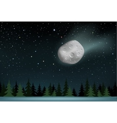 Meteorite falls over the night wood vector