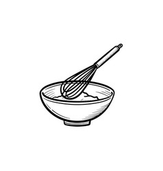 Mixing bowl with wire whisk hand drawn sketch icon vector