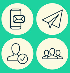 network icons set collection of confirm society vector image