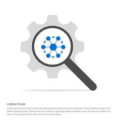 network share icon search glass with gear symbol vector image