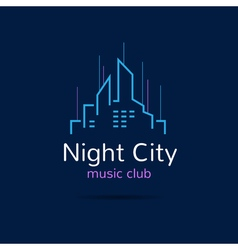 Night city logo city skyline logotype vector
