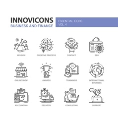 Office business modern thin line design icons and vector image