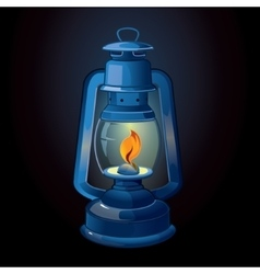 Old-fashioned blue lantern vector