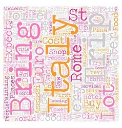 Our Trip To Italy April text background wordcloud vector image