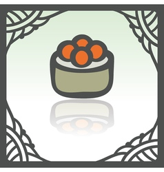 Outline sushi rice roll with caviar japan food vector
