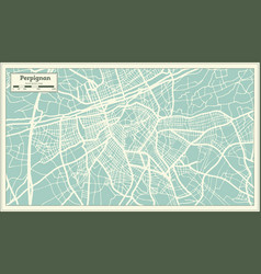 perpignan france city map in retro style outline vector image