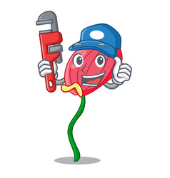 Plumber pink anthurium flowers in character funny vector
