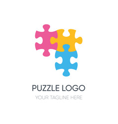 Puzzle logotype design isolated on white vector