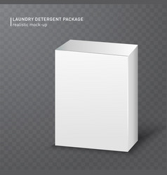 Realistic white carton box on transparent vector