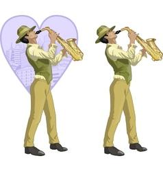 Retro hispanic musician cartoon character vector