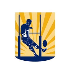 Rugby player kicking at goal post vector