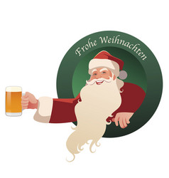 santa claus holding a glass beer-02 vector image