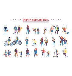 set of colorful animals being pupils and students vector image