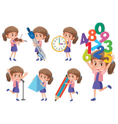 set of girl with math object vector image