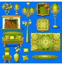 Set vintage furniture upholstered in green vector image